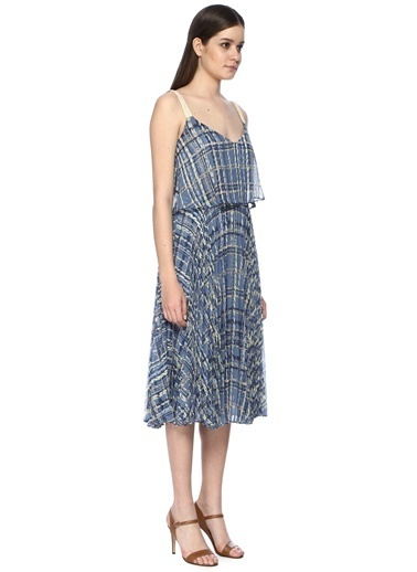 NetWork Kadın 1068092 Askılı Desen Uzun Elbise Mavi